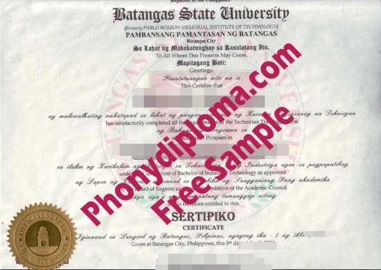 Philippines Batangas State University Free Sample From Phonydiploma
