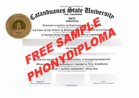 Philippines Catanduanes State University Free Sample From Phonydiploma