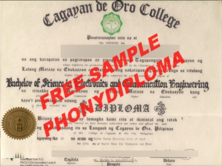 Philippines Cagayan De Oro College Free Sample From Phonydiploma