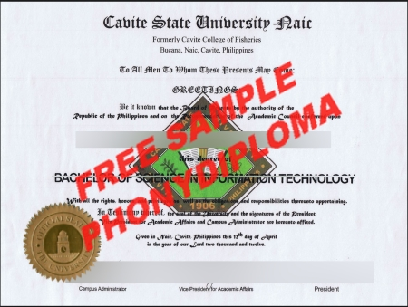 Philippines Cavite State University 2 Free Sample From Phonydiploma