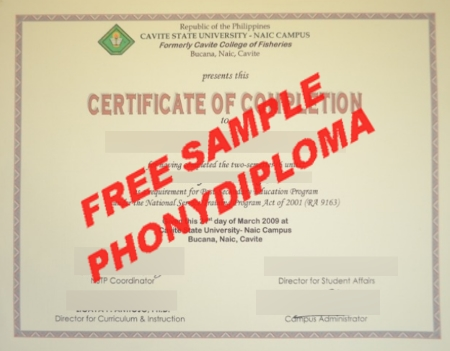 Philippines Cavite State University Free Sample From Phonydiploma