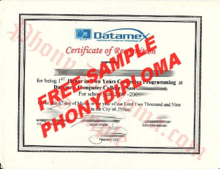 Philippines Datamex Institute Of Computer Technology Free Sample From Phonydiploma
