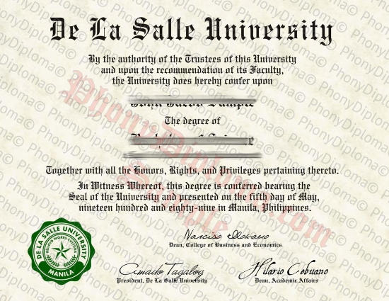 Philippines De La Salle University Free Sample From Phonydiploma