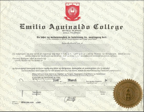 Philippines Emilio Aguinaldo College Fake Diploma From Phonydiploma