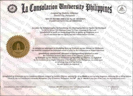 Philippines La Consolacion University Free Sample From Phonydiploma