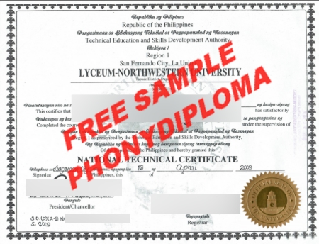 Philippines Lyceum Northwestern University Free Sample From Phonydiploma