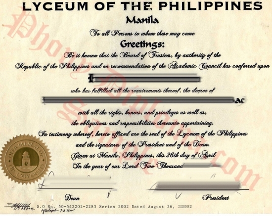 Philippines Lyceum Of The Free Sample From Phonydiploma
