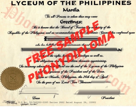 Philippines Lyceum Of The Philippines Free Sample From Phonydiploma