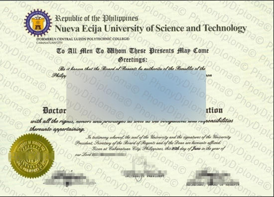 Philippines Nueva Ecija University Of Science And Technology Free Sample From Phonydiploma