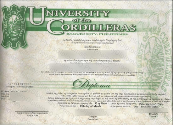Philippines University Of The Cordilleras 2 Free Sample From Phonydiploma   Copy