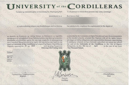 Philippines University Of The Cordilleras Free Sample From Phonydiploma