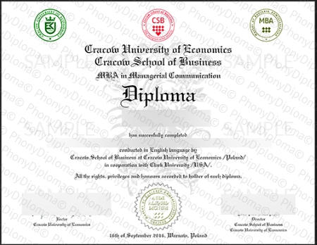 Poland Kracow University Free Sample From Phonydiploma