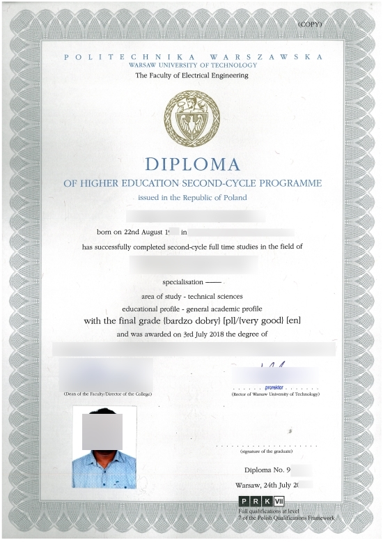 Poland Warsaw University Of Technology Fake Diploma From Phonydiploma