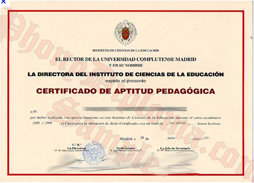 El Rector De La Universidad Complutense Madrid Certificado De Aptitud Pedagogica Fake Diploma From Phonydiploma
