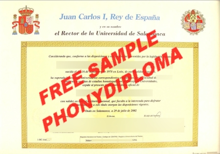 Spain Juan Carlos Rey Espana Salamanca Free Sample From Phonydiploma