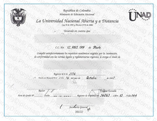 Spain La Universidazd Nactional Abierta Distancia Free Sample From Phonydiploma