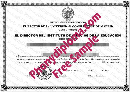 Spain Universidad Complutense De Madrid Fake Diploma Sample