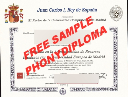 Spain Universidad Complutense De Madrid Spain Free Sample From Phonydiploma