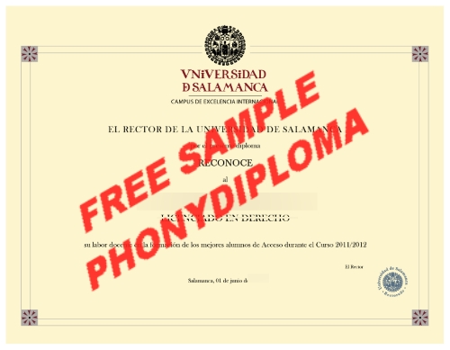 Spain Universidad De Salamanca Free Sample From Phonydiploma