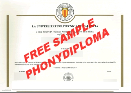 Spain Universidad Politecnica De Valencia Free Sample From Phonydiploma