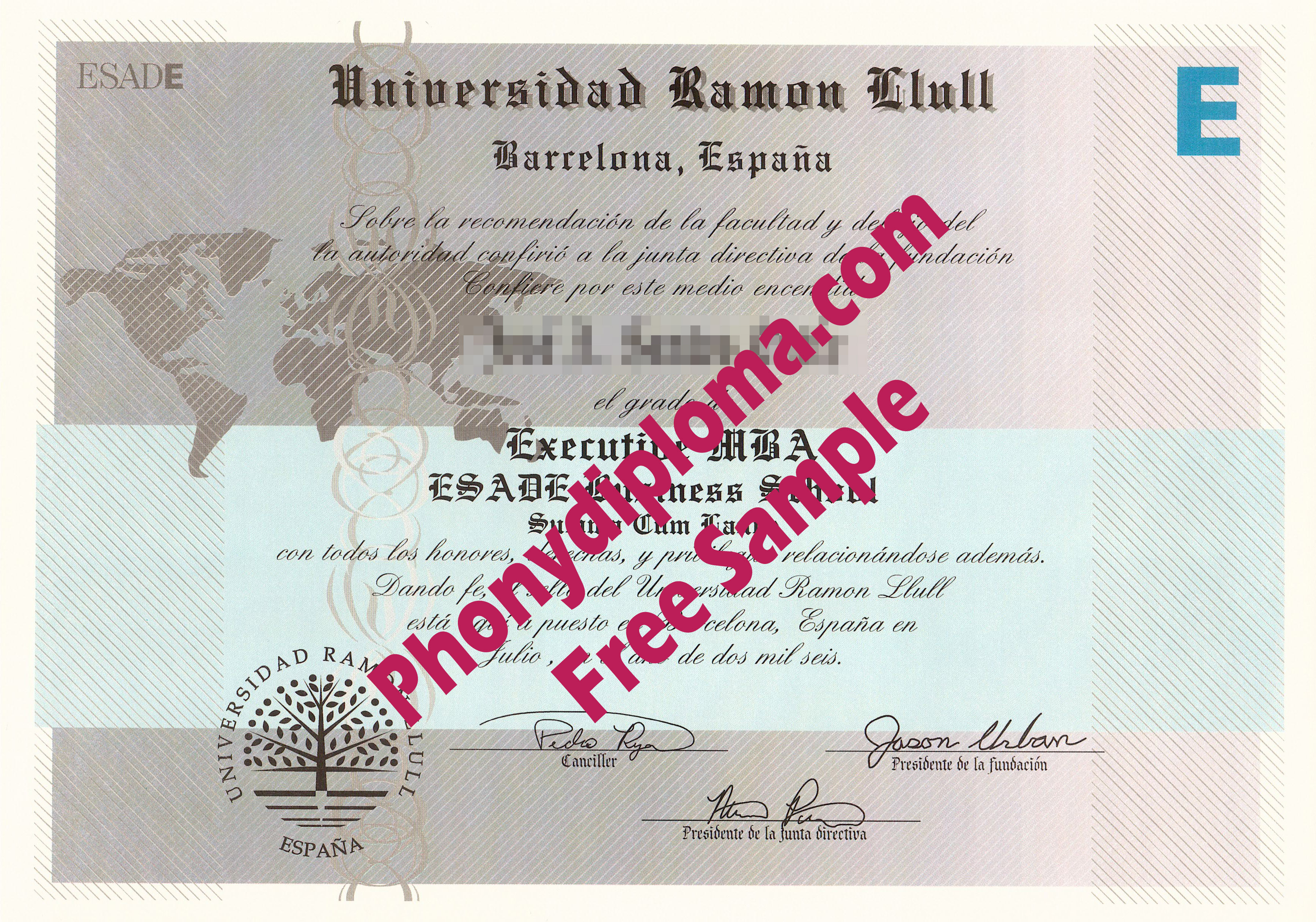 Spain Universidad Ramon Llull Spain Free Sample From Phonydiploma