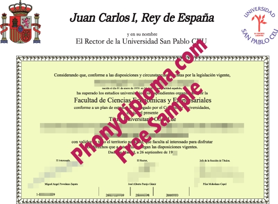 Spain Universidad San Pablo Ceu Free Sample From Phonydiploma