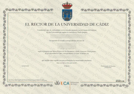 Spain Universidad De Cadiz Free Sample From Phonydiploma