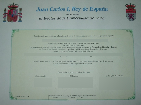 Spain University Universidad De Leon Free Sample From Phonydiplom