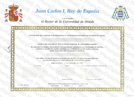 Spain University Of Oviedo Free Sample From Phonydiploma