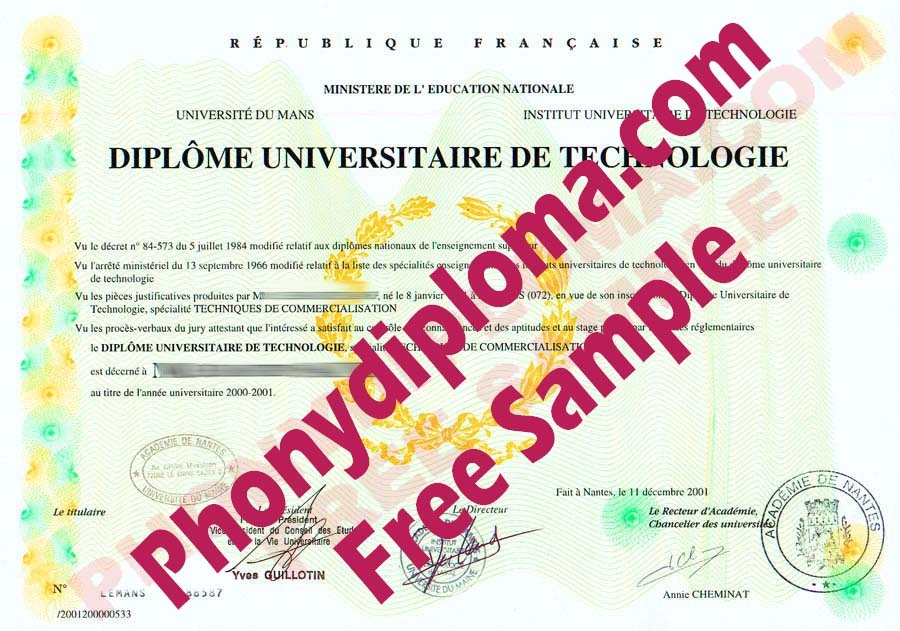 Academie Du Mans France Diploma Free Sample From Phonydiploma