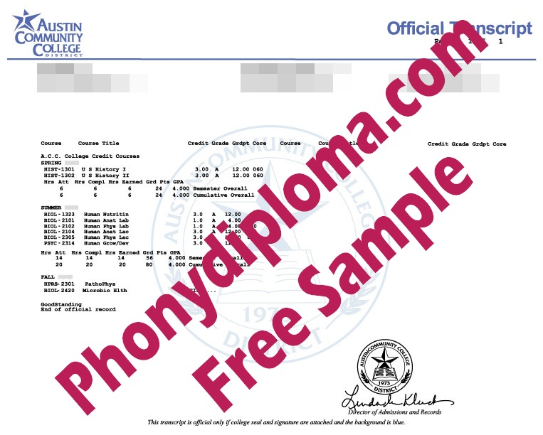 Austin Community College Actual Match Transcript Free Sample From Phonydiploma