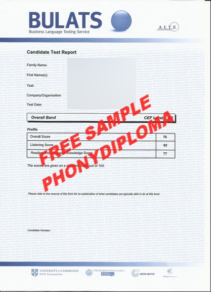 Bulats Certificate Free Sample From Phonydiploma