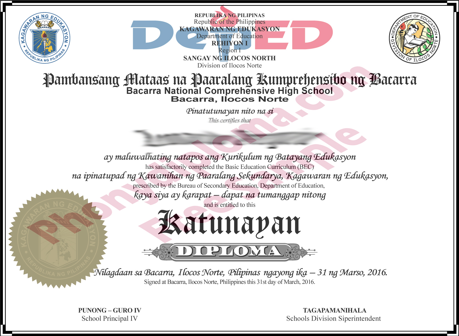Baccara National Philippines Fake Diploma Sample Phonydiploma