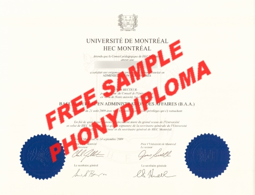 Canada University De Montreal Hec Sample From Phonydiploma
