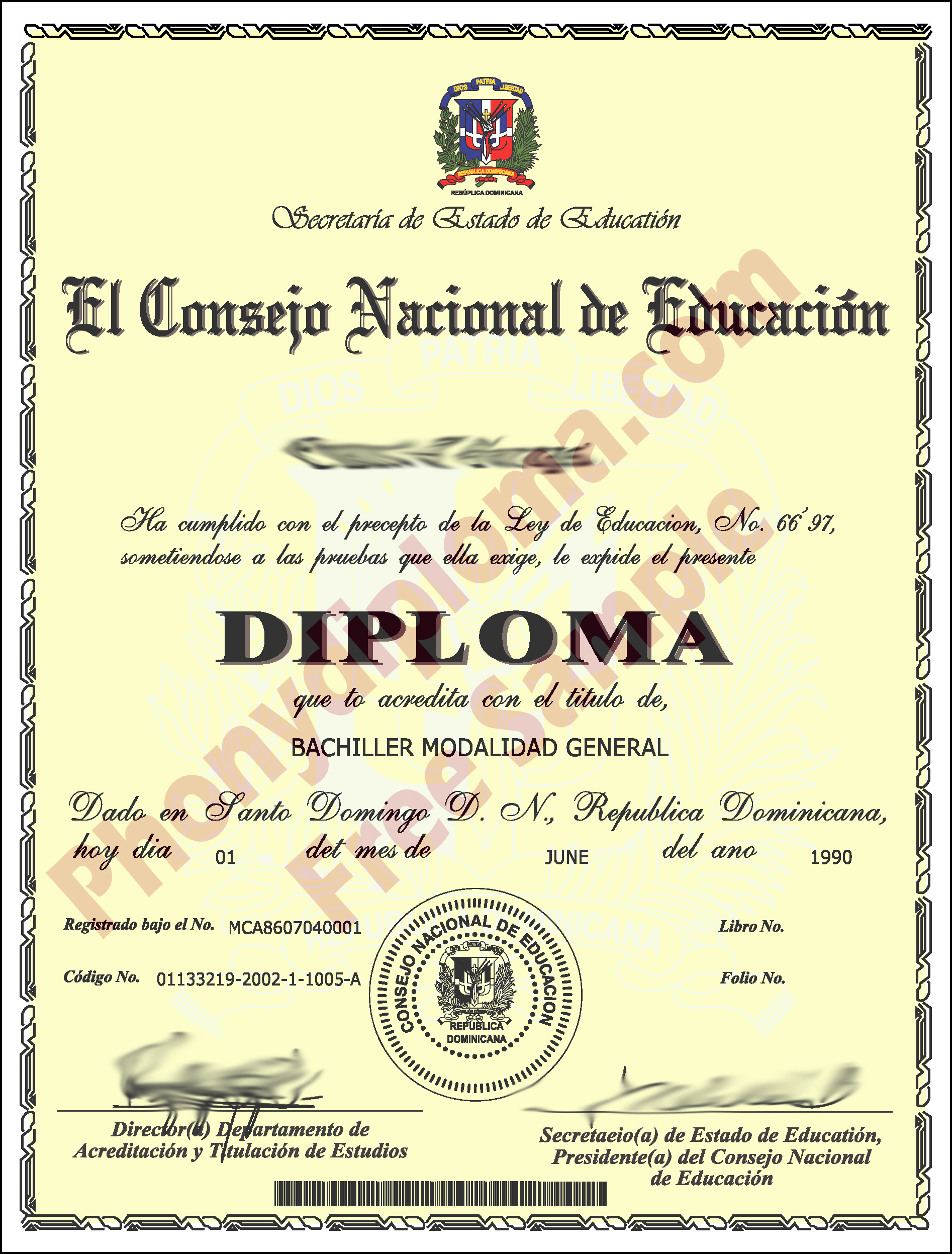 Dominican Republic Fake Diploma Custom Sample Phonydiploma