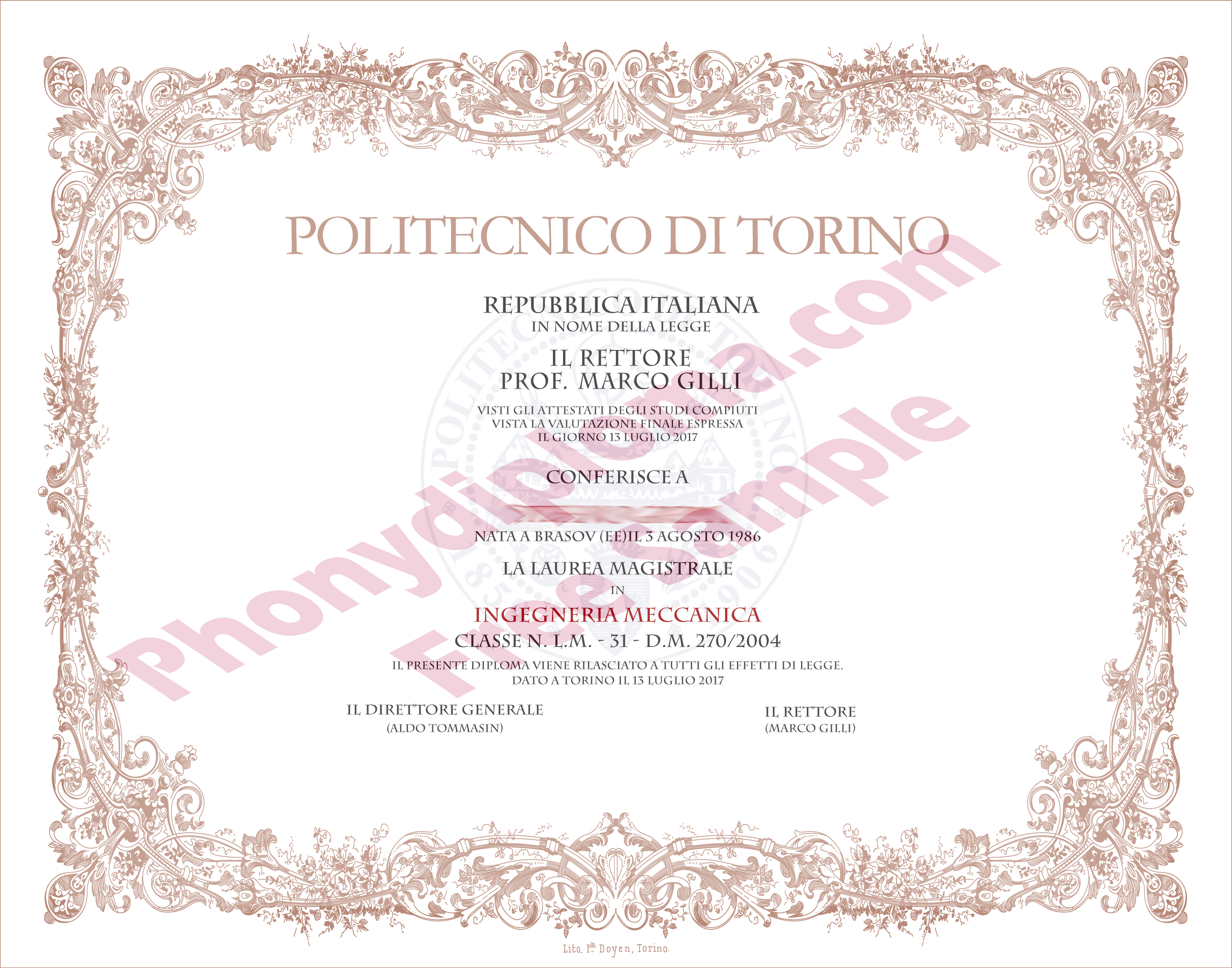 Politencnico De Torino Diploma Free Sample From Phonydiploma