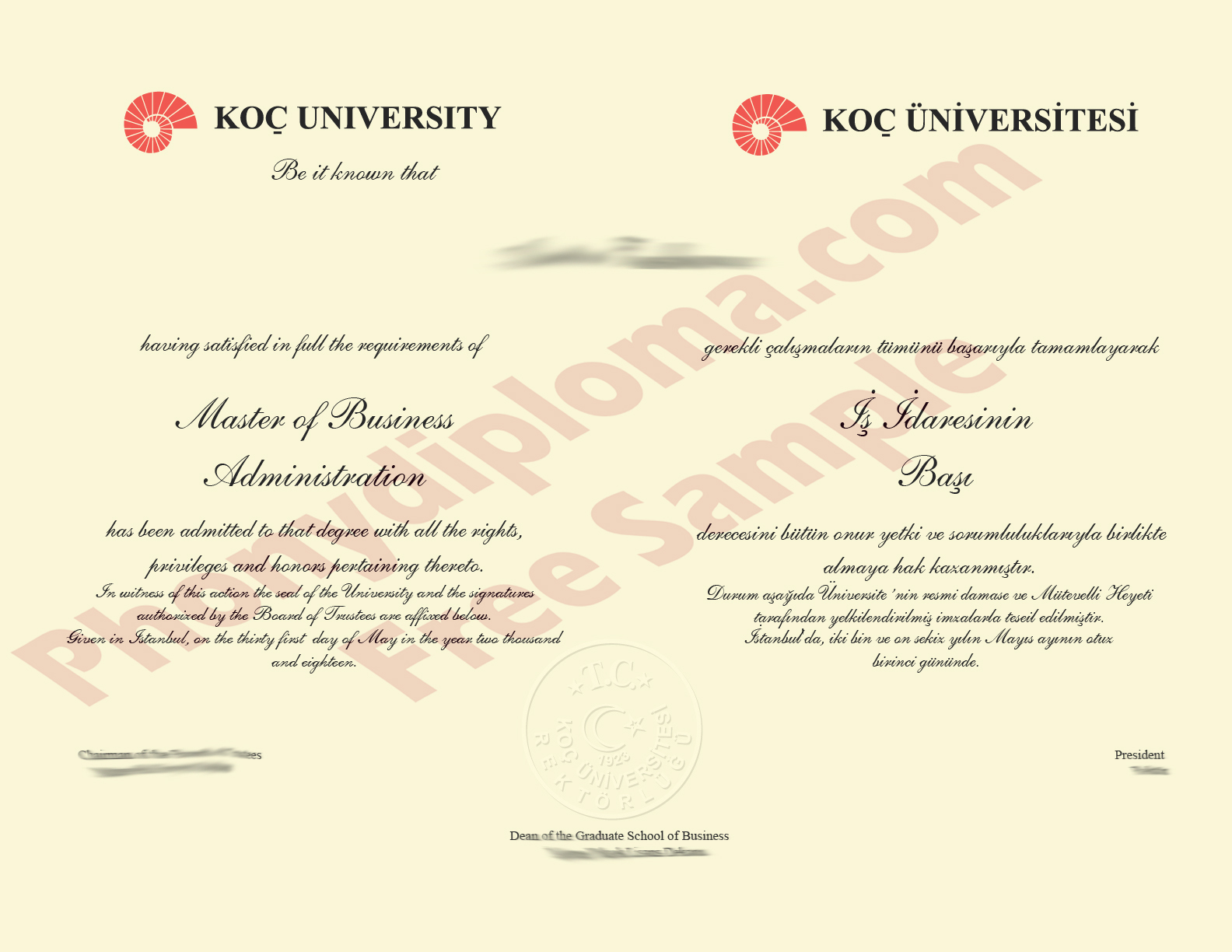 Turkey Koc University Diploma Custom Sample Phonydiploma