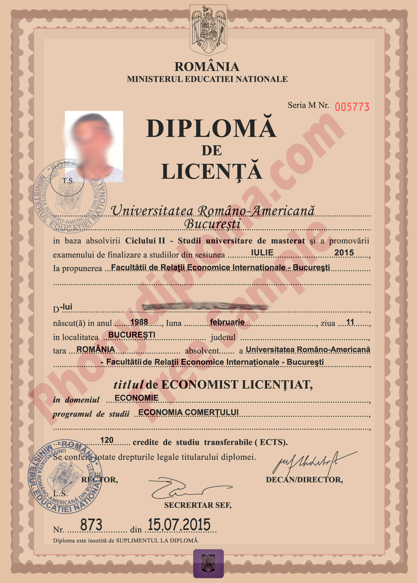 Romania Fake Diploma Sample From Phonydiploma