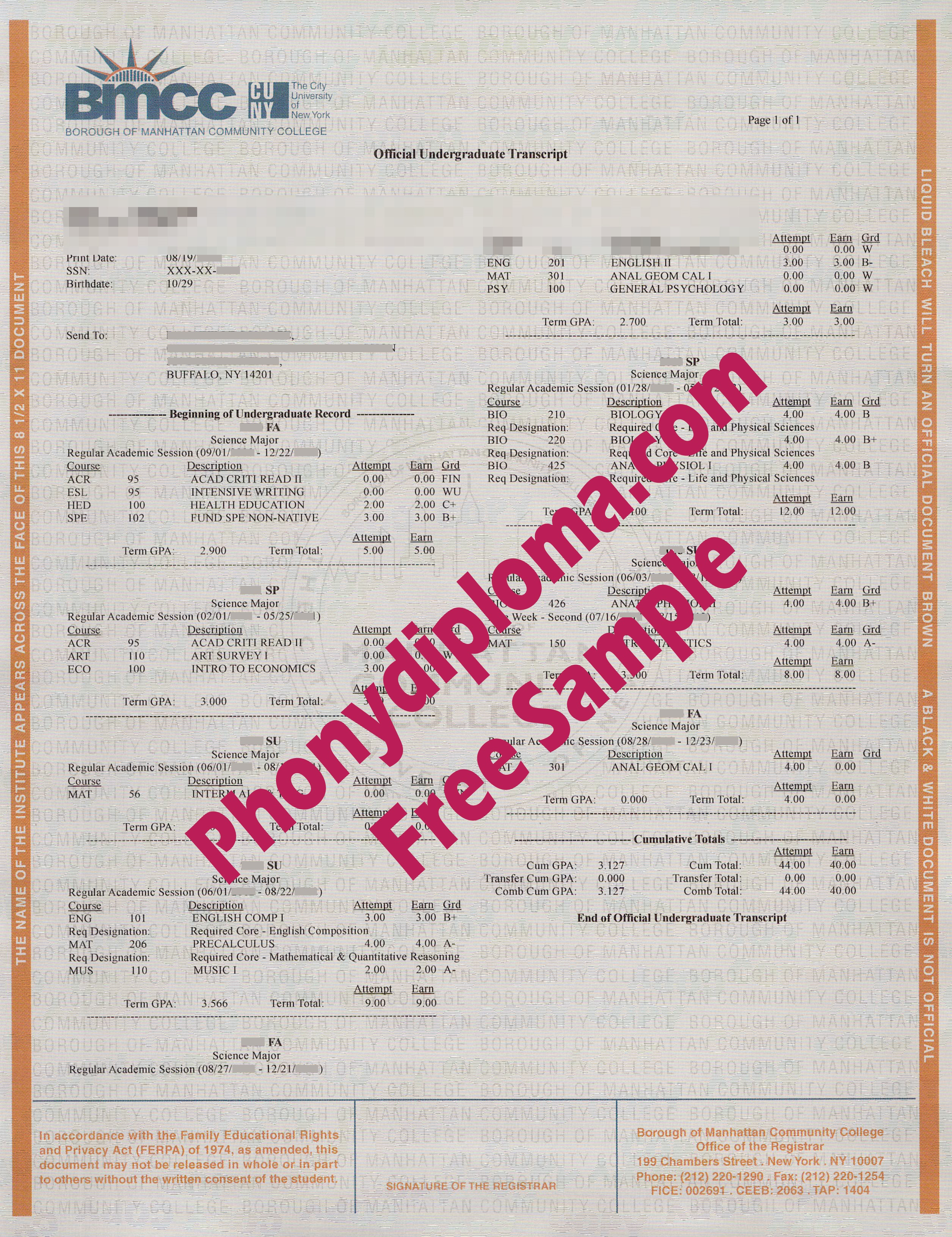 Borough Of Manhattan Community College Actual Match Transcripts Free Sample From Phonydiploma