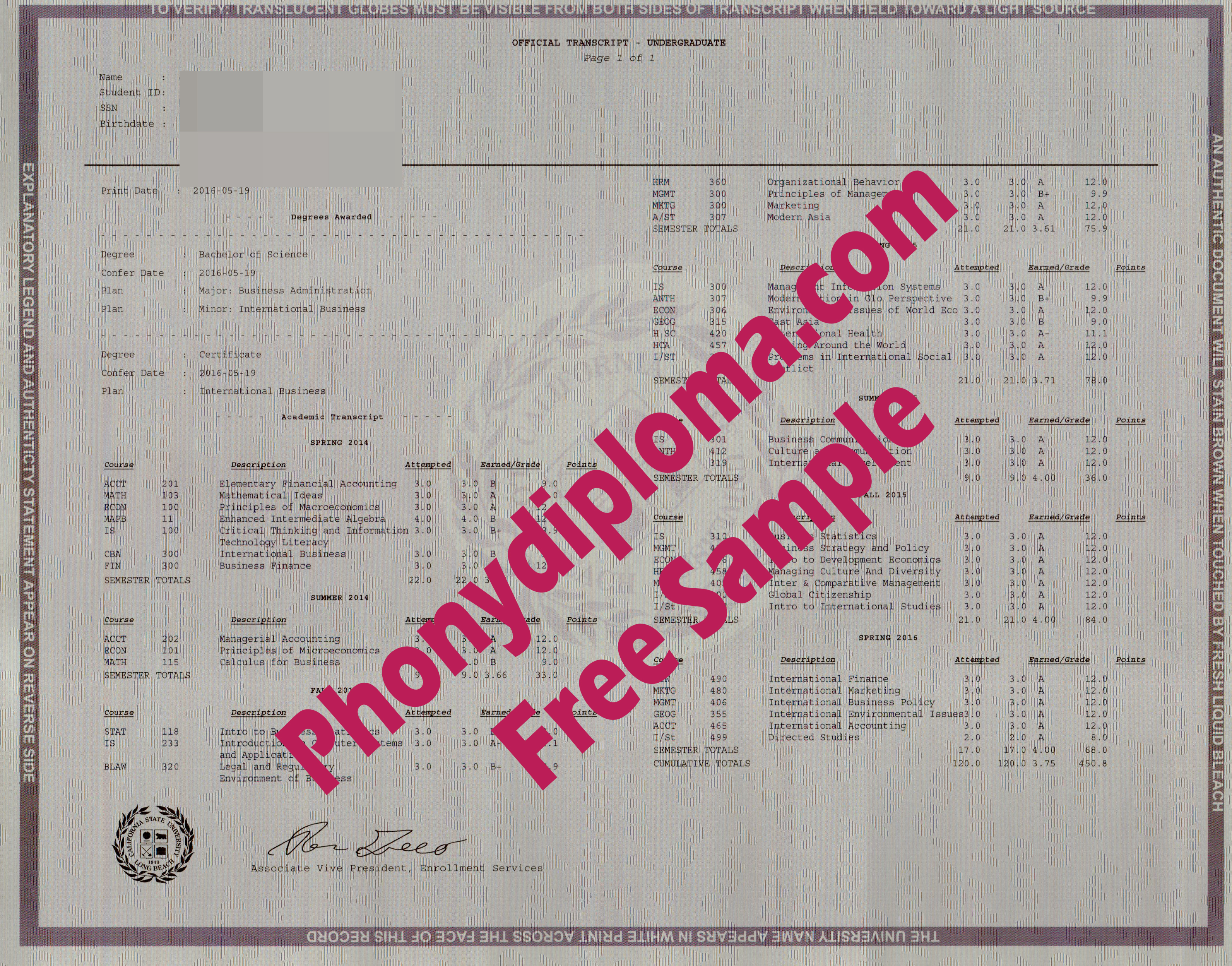 California State University Long Beach Actual Match Transcript Free Sample From Phonydiploma
