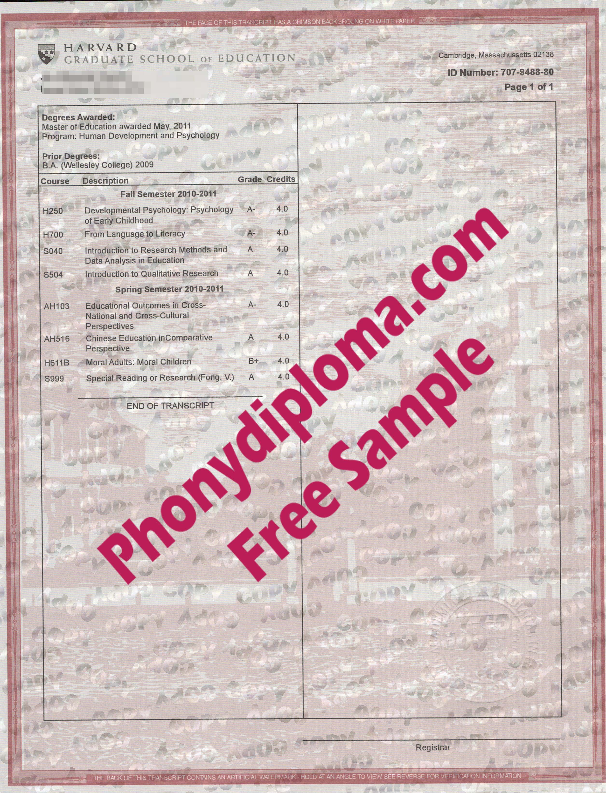 Harvard Matchtranscripts Free Sample From Phonydiploma