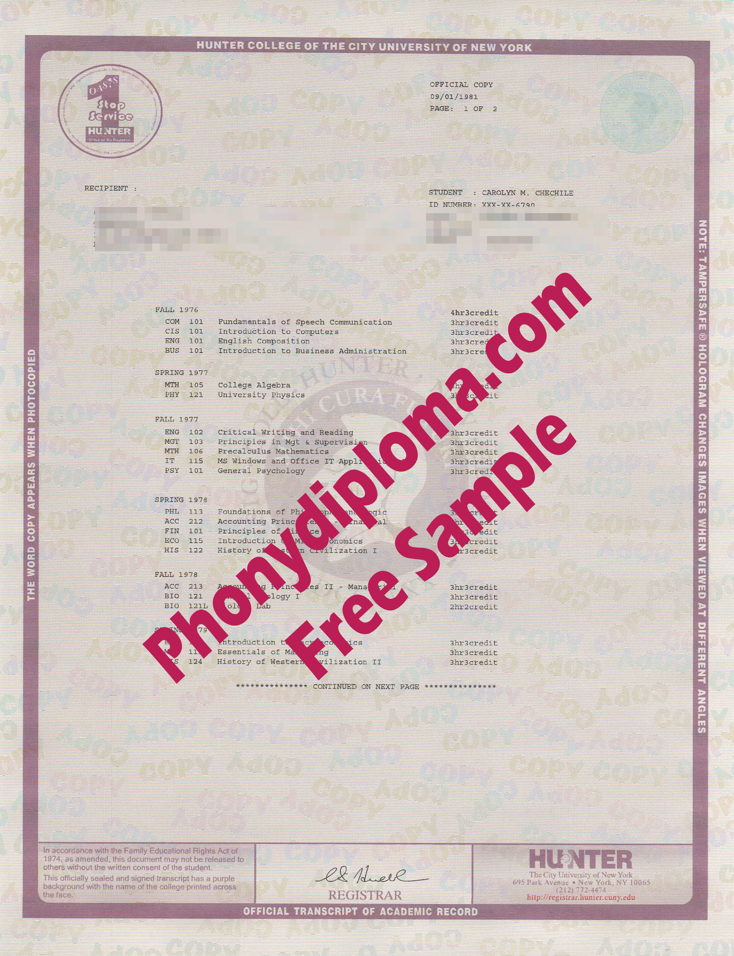 Hunter College Of The City Of New York Actual Match Transcripts Free Sample From Phonydiploma