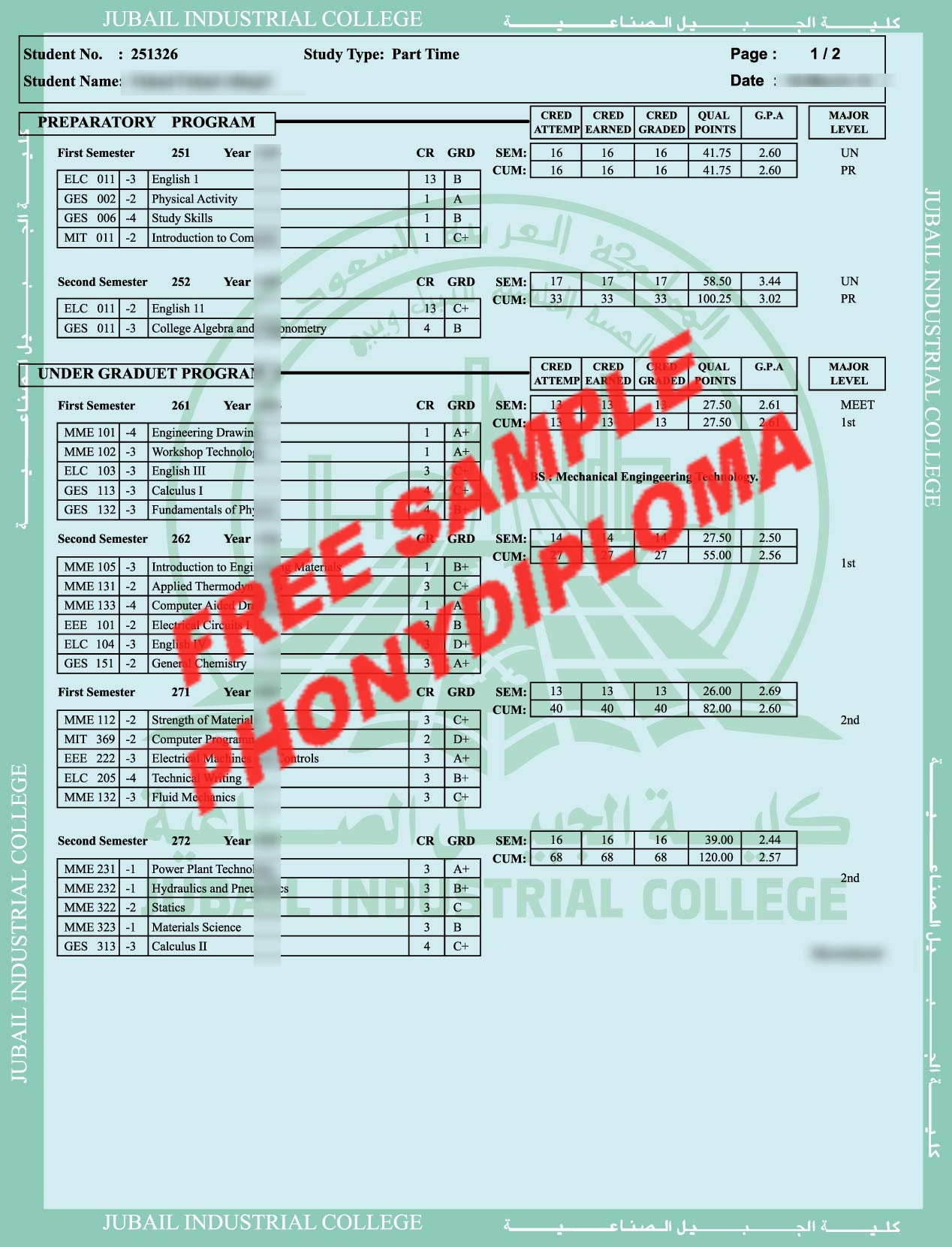Jubail Industrial College Actual Match Trans Saudi Arabia Free Sample From Phonydiploma