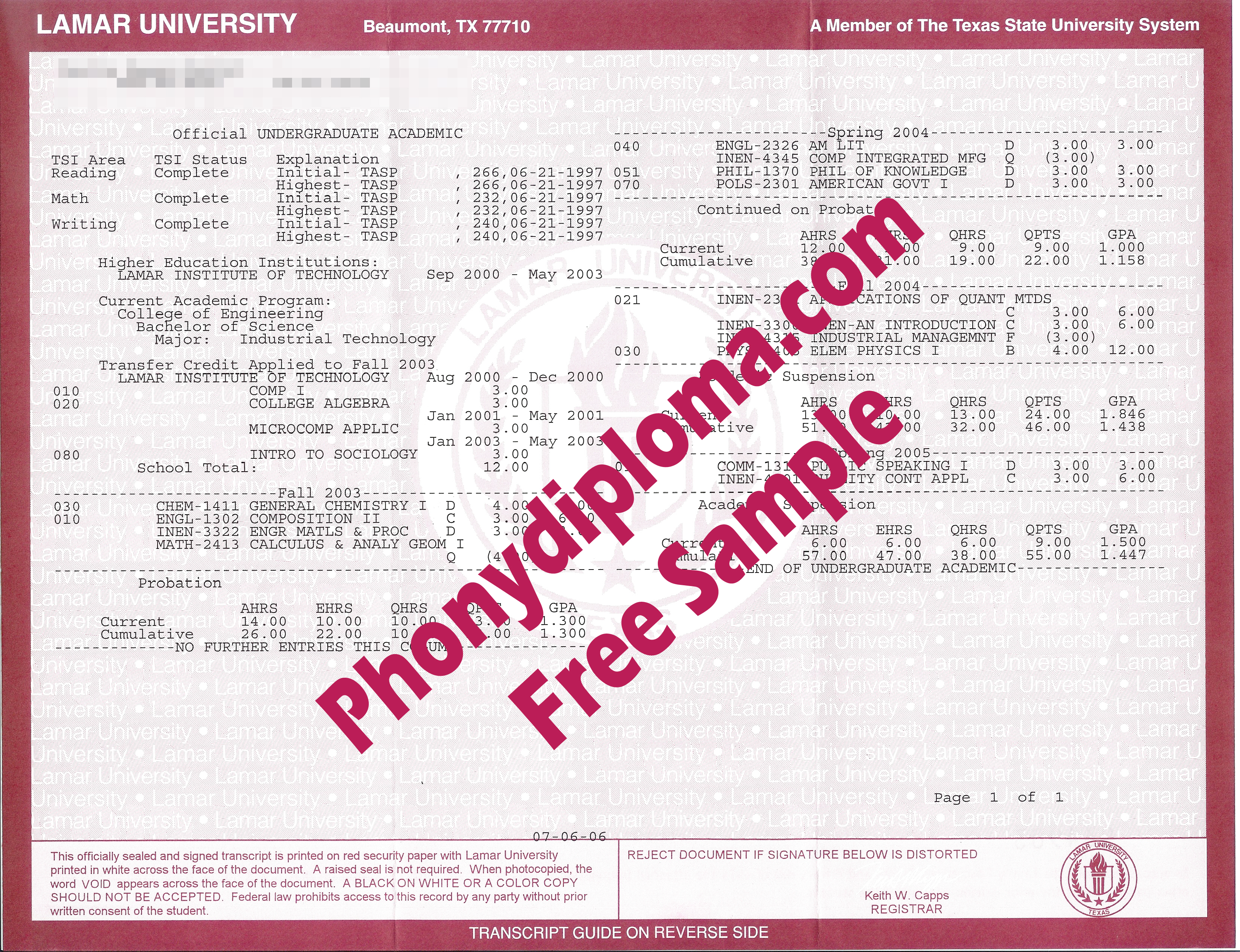 Lamar University Actual Match Transcripts Free Sample From Phonydiploma