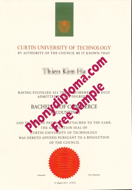 Australia Curtin University Of Technology Free Sample From Phonydiploma