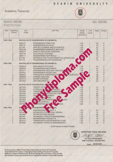 Australia Deakin University Actual Match Transcript Free Sample From Phonydiploma