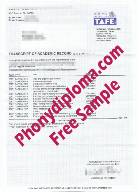 Australia Holmesglen Tafe Actual Match Transcripts Free Sample From Phonydiploma
