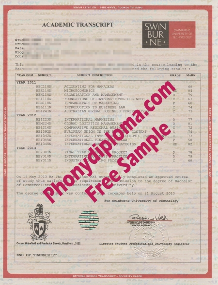 Australia Swinburne University Of Technology House Design Transcripts Free Sample From Phonydiploma