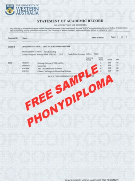 Australia University Of Western Australia Actual Match Transcript Free Sample From Phonydiploma