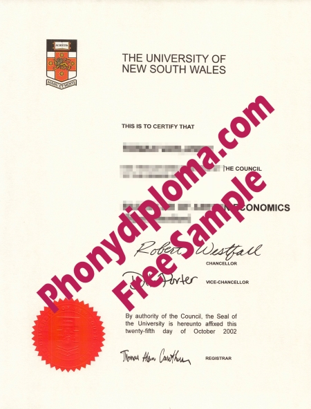 Australia University Of New South Wales Free Sample From Phonydiploma